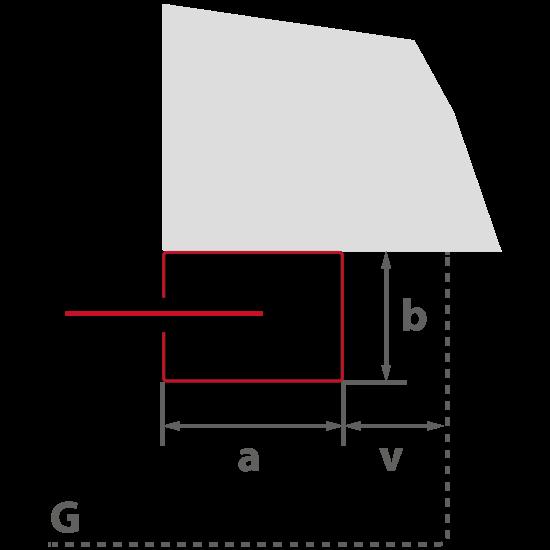 """{""""a"""":""""230 mm"""",""""b"""":""""110 mm"""",""""v"""":""""42 mm"""",""""G"""":""""Gehäuse""""}"""